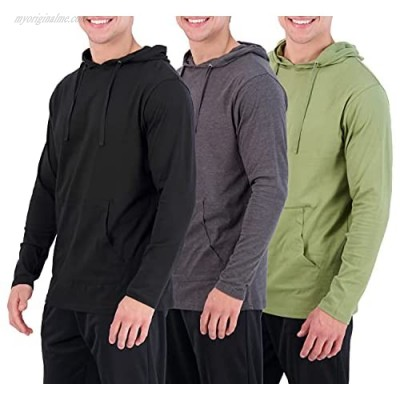 3 Pack: Men's 100% Cotton Lightweight Casual Pullover Drawstring Hoodie With Pocket