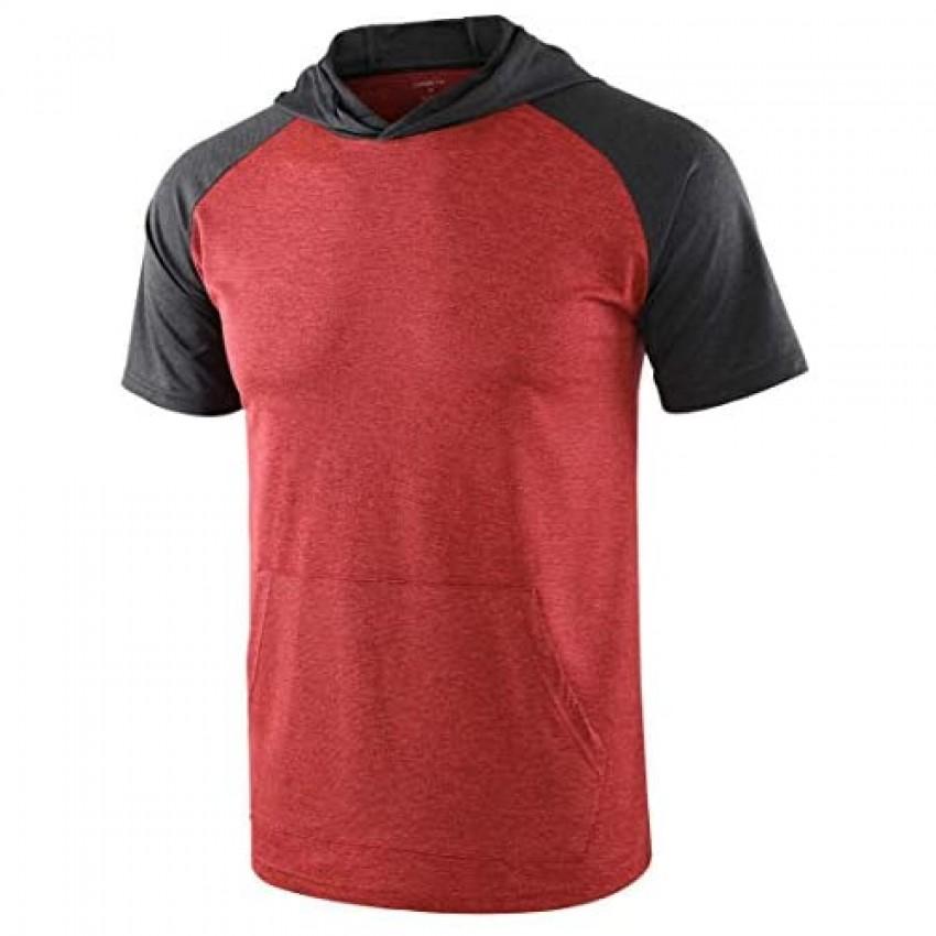 HARBETH Mens Quick Dry 4 Way Stretch Short Raglan Sleeve Tech Hoodie Tee Shirts