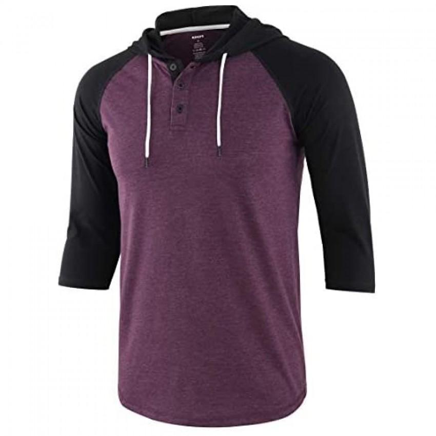 KNQR Mens Casual Raglan 3/4 Sleeve Vintage Active Sport Baseball Hoodie T Shirt