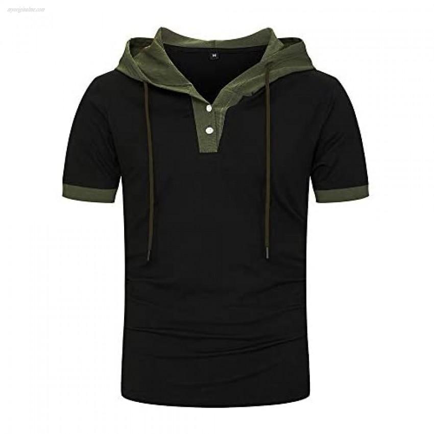 Mens Athletic Hoodies short Sleeve Sport Sweatshirt Color Block Pullove