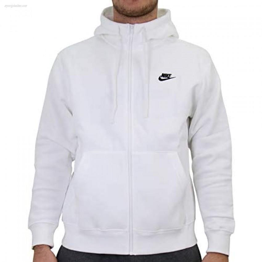 Nike Men's Sportswear Club Fleece Full Zip Hoodie Fleece Zip-Up Hoodie Men White/White/Black XL
