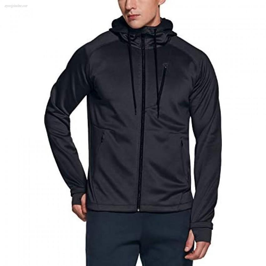 TSLA Men's Full Zip Up Hoodie Jacket Long Sleeve Performance Training Hoodie Lightweight Workout Running Track Jackets