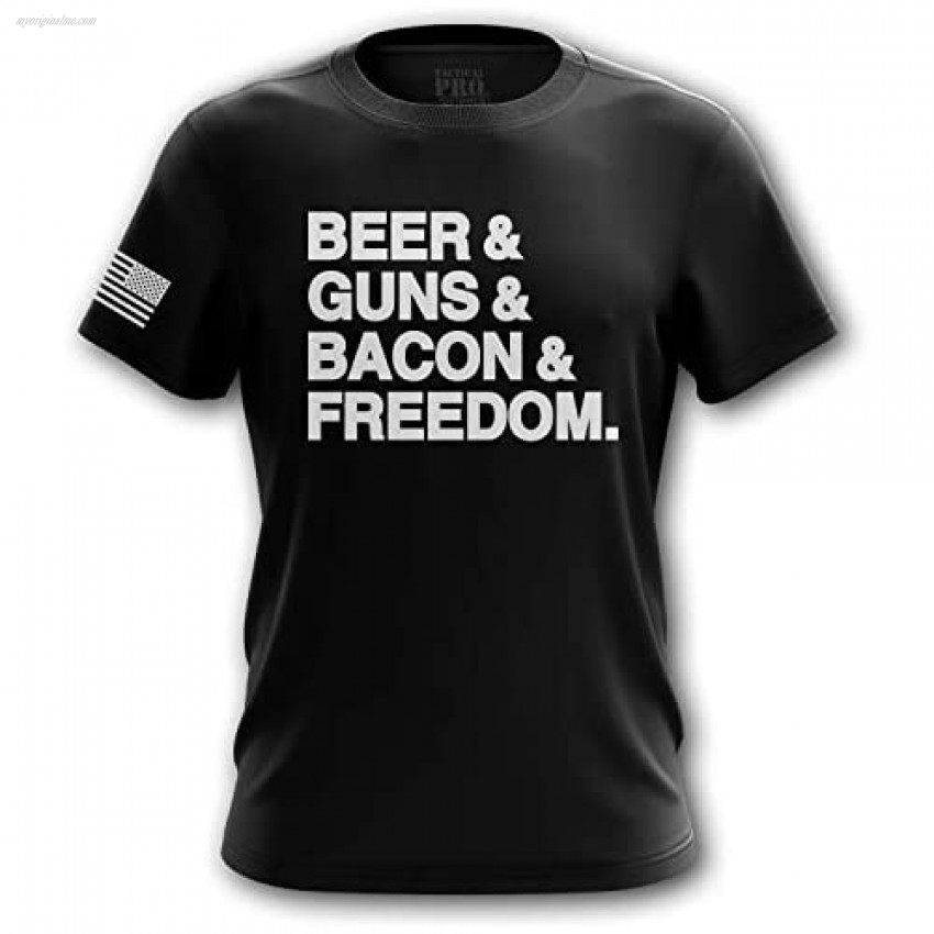 U.S Flag Patriotic Military Army Funny Mens T-Shirt Printed & Packaged in The USA Bacon Medium