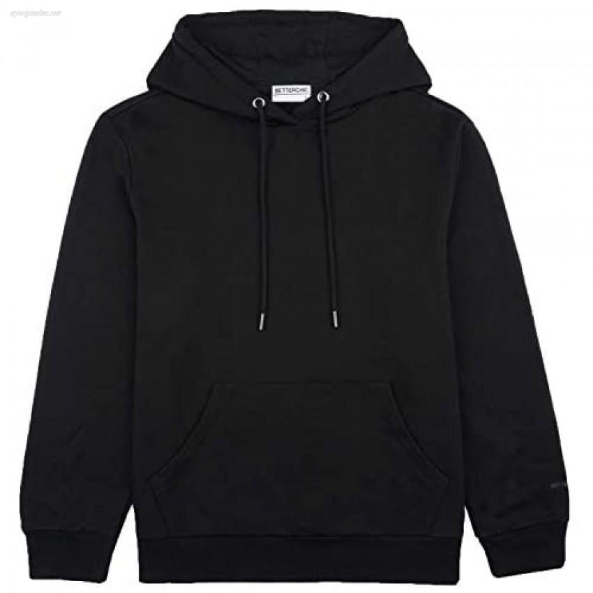 BETTERCHIC Men's Hooded Sweatshirt Long Sleeve Soft Brushed Fleece Hoody Classic Drawstring Pullover Hoodie Size S-3XL