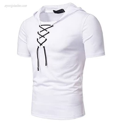 Mens Hooded T Shirt Summer Fashion Athletic Hoodie Gym Short Sleeve Workout Sweatshirt Casual Muscle Tee