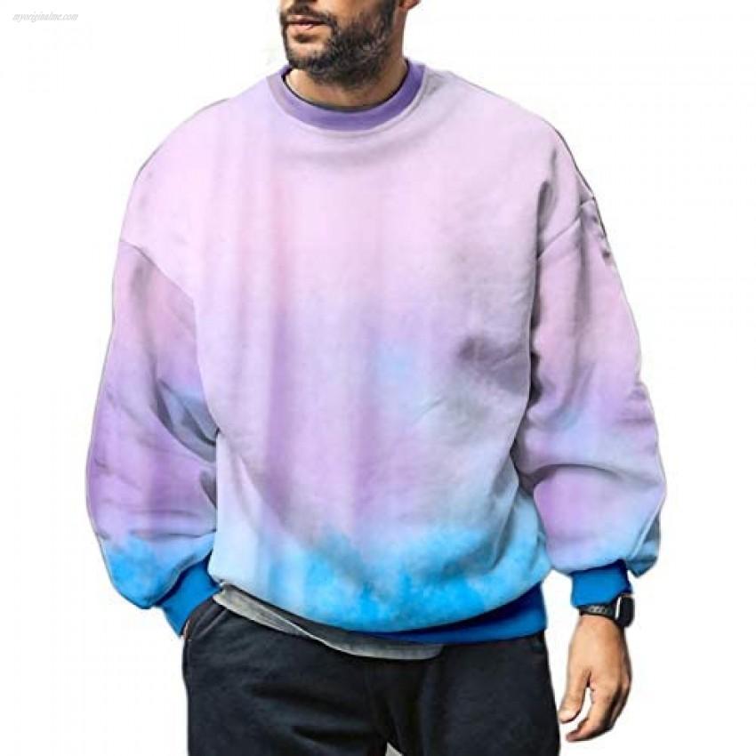 Pretifeel Mens Crew Neck Tie Dye Sweatshirt Long Sleeve Fleece Colorful Loose Hippie T Shirts