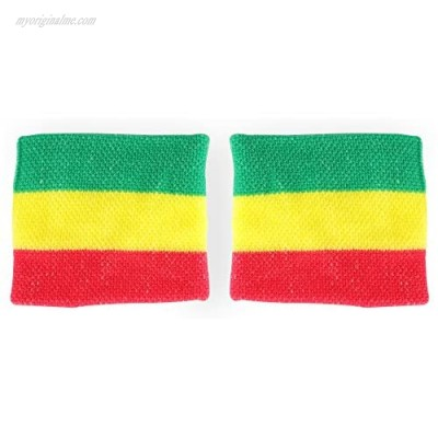 Rasta Green Yellow and Red Colored 2 Piece Wristband Pair