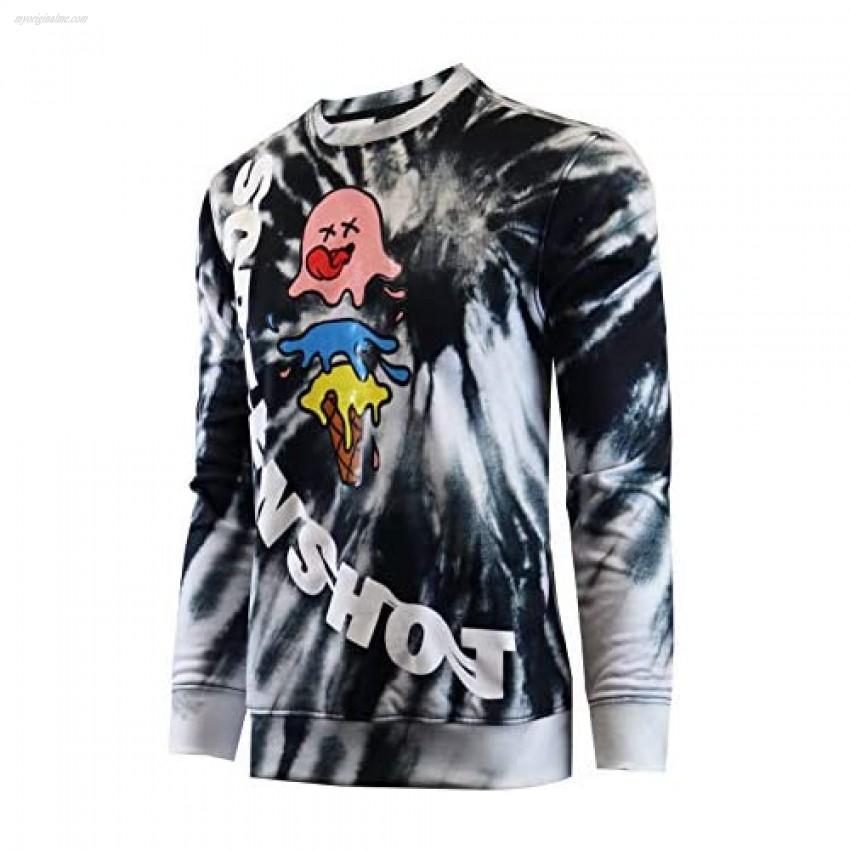 Screenshotbrand Mens Urban Hip Hop Premium Tie Dye Fleece - Pullover Active Urbanwear Street Fashion Crew Neck Sweatshirt