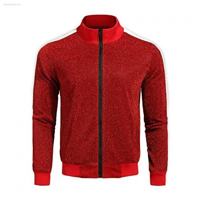 COOFANDY Men's Bomber Baseball Jacket Slim Fit Zip Up Premium Track Jackets