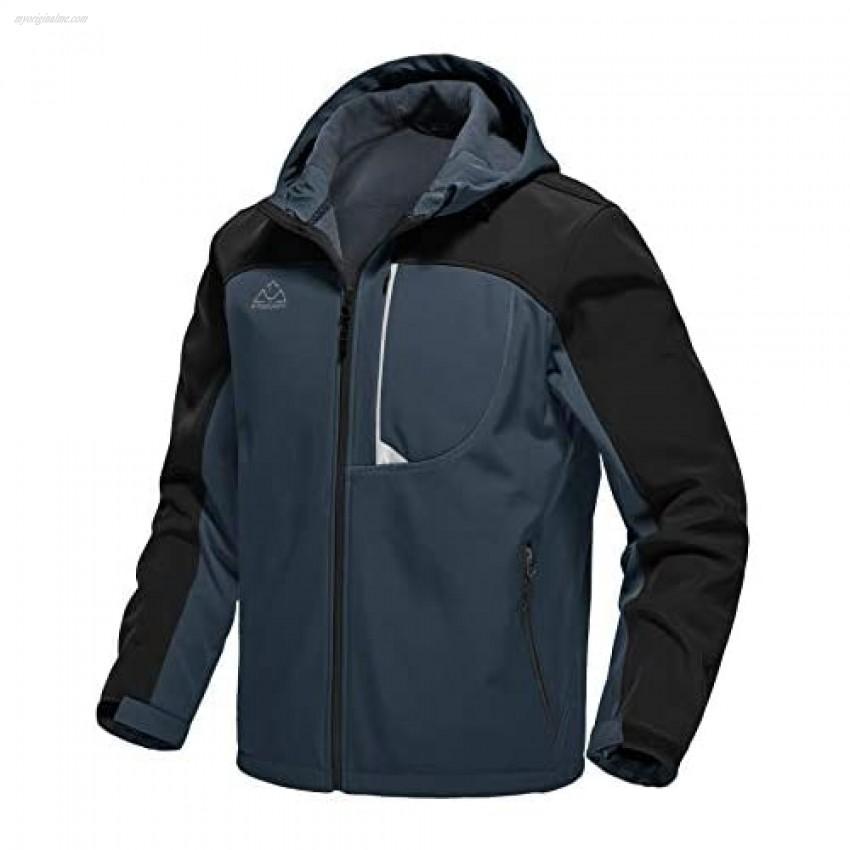 TBMPOY Men's Softshell Windproof Jacket Outdoor Fleece-Lined Water Resistant Coat Winter Outerwear