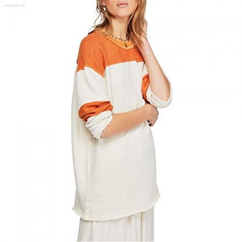 Free People Women's Jordan Colorblocked Raw-Edge Sweatshirt