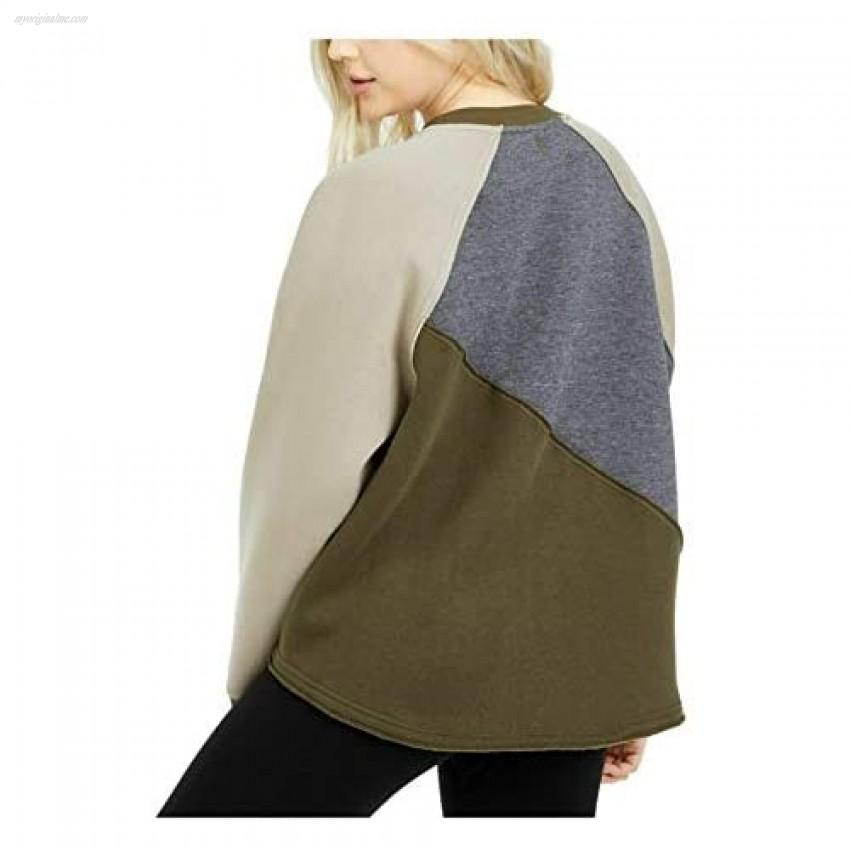 Free People Womens New Green Color Block Long Sleeve Hoodie Top M