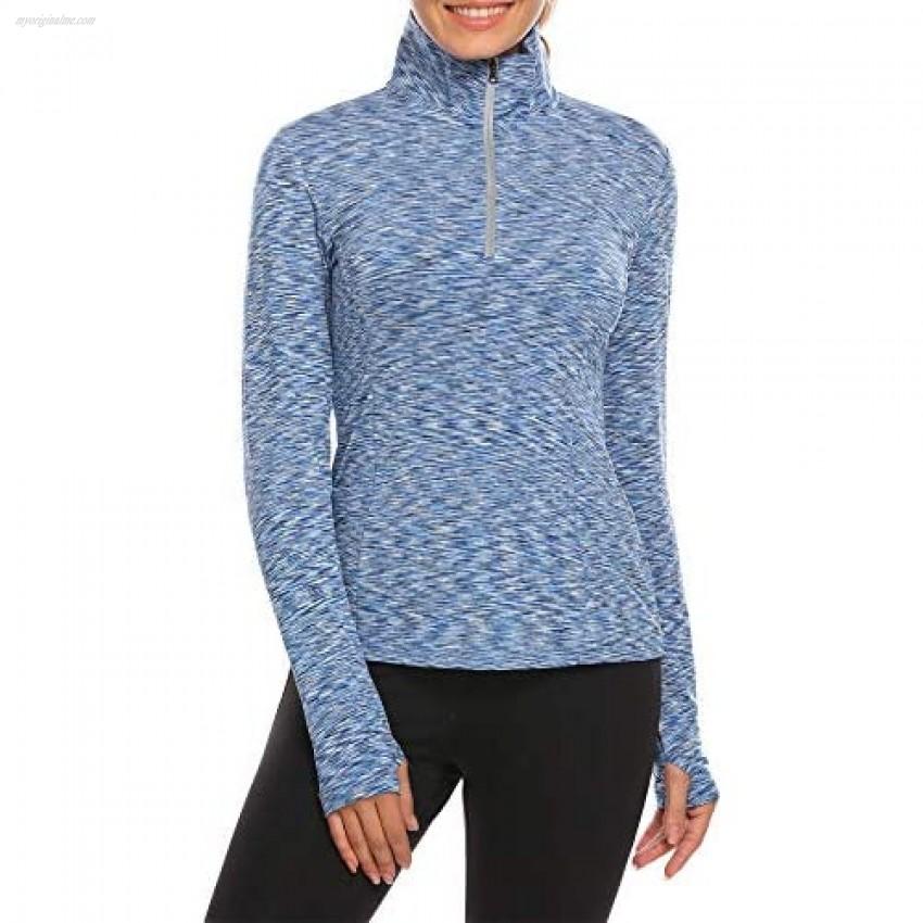 Guteer Women's Long Sleeves Half Zip Thumbholes Workout Shirt Running Active Top