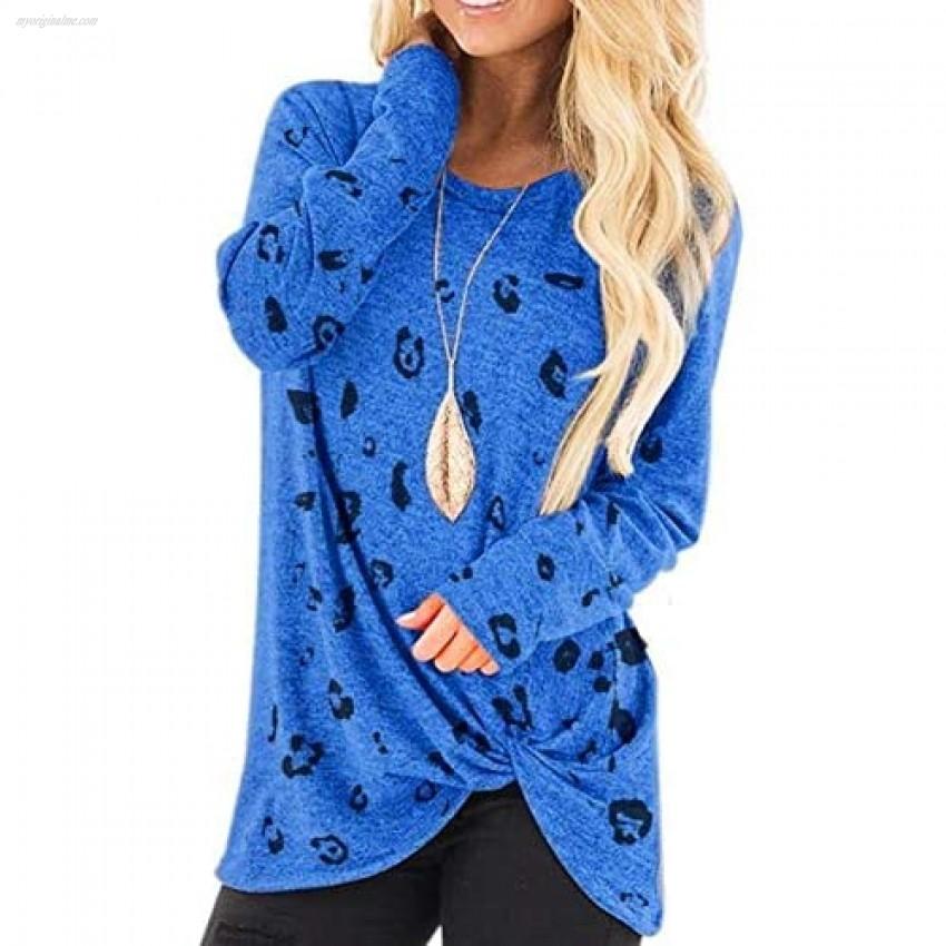 JOSUSY Womens Casual Leopard Print Crew Neck Pullover Long Sleeve Sweatshirts Tops Blouse