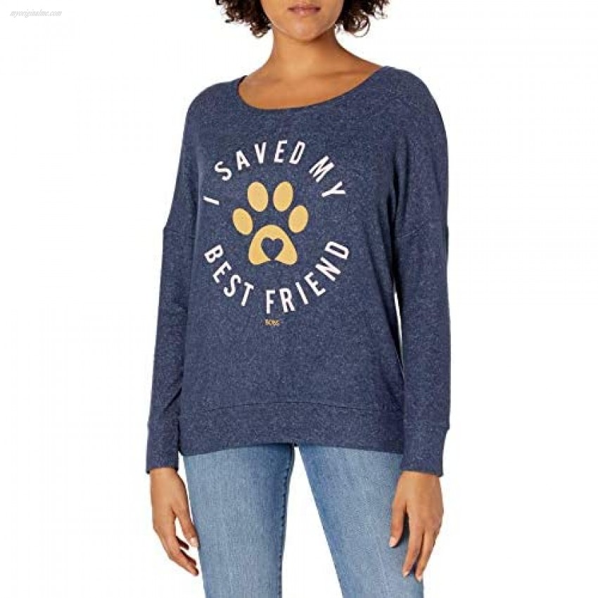 Skechers Women's Bobs for Dogs and Cats Cozy Pullover Top Navy I Saved My Best Friend XS