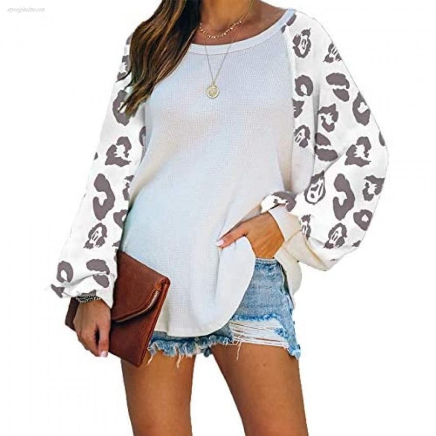 Women Color Block Tops Long Sleeve Round Neck Loose Blouse Sweatshirts