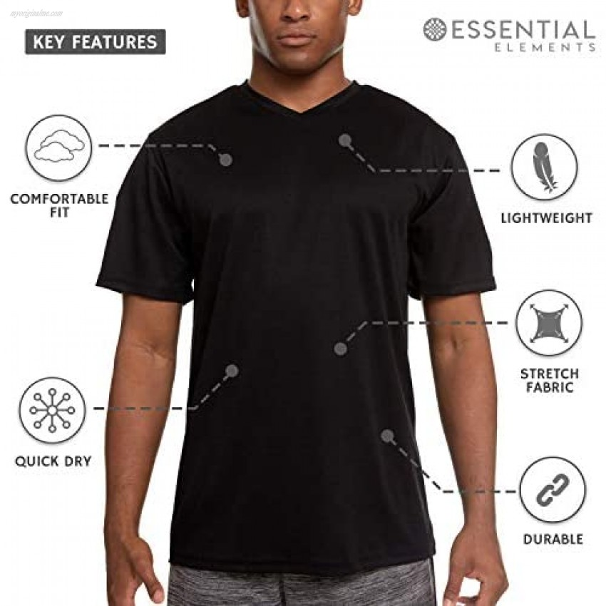 5 Pack: Men's Active Dry Fit Moisture Wicking Athletic Performance Workout Stretch V-Neck Short Sleeve T-Shirt Top