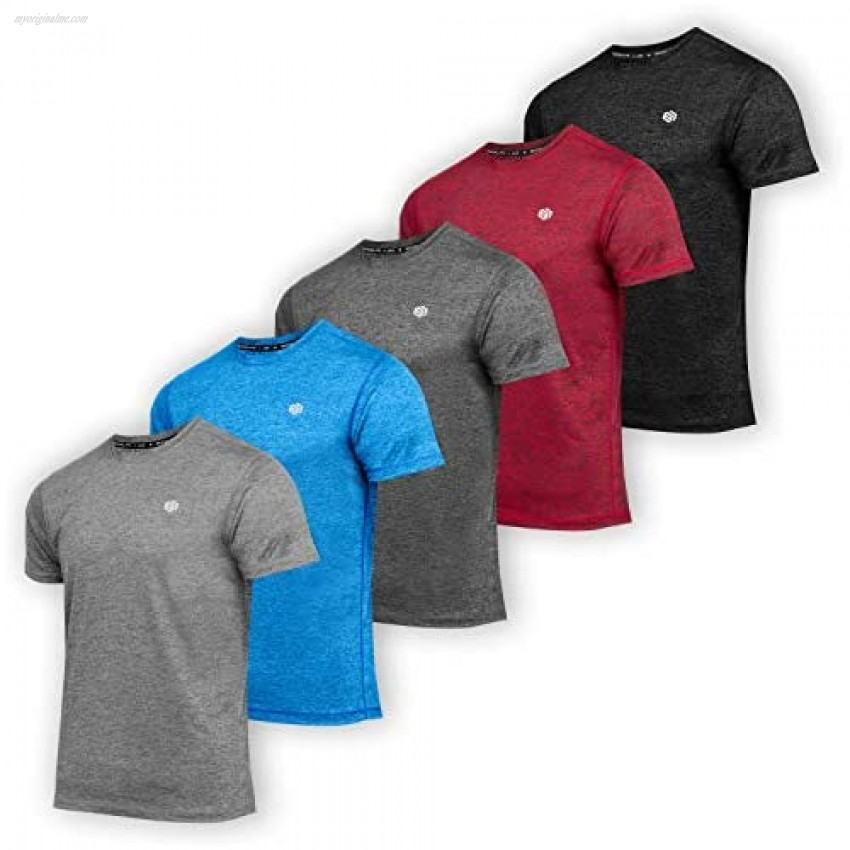 5 Pack: Men's Dry-Fit Moisture Wicking Active Athletic Training Workout Running Sports Performance Crew Neck