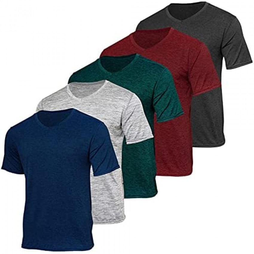 5 Pack: Men's V-Neck Dry-Fit Moisture Wicking Active Athletic Tech Performance T-Shirt