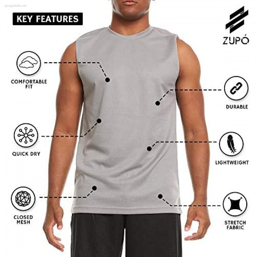 6 Pack: Men's Active Dry Fit Moisture Wicking Workout Sleeveless Athletic Performance Closed Mesh Muscle Tank Sleeve Top