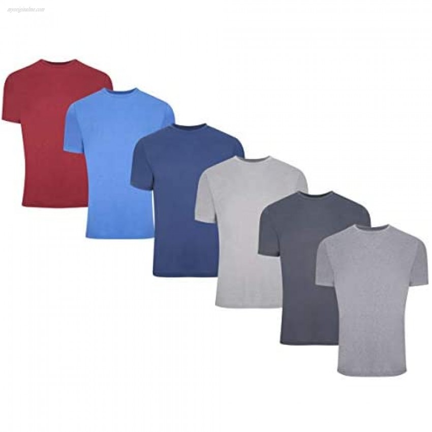 6 Pack: Men's Active Performance Quick Dry Athletic Training Heather Short Sleeve Top T-Shirt