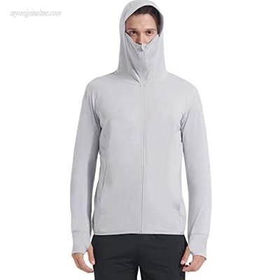 Casei Men's UPF 50+ Full Zip Sun Protection Light Jacket Hooded UV Long Sleeve Shirts Running Hiking Fishing Shirts