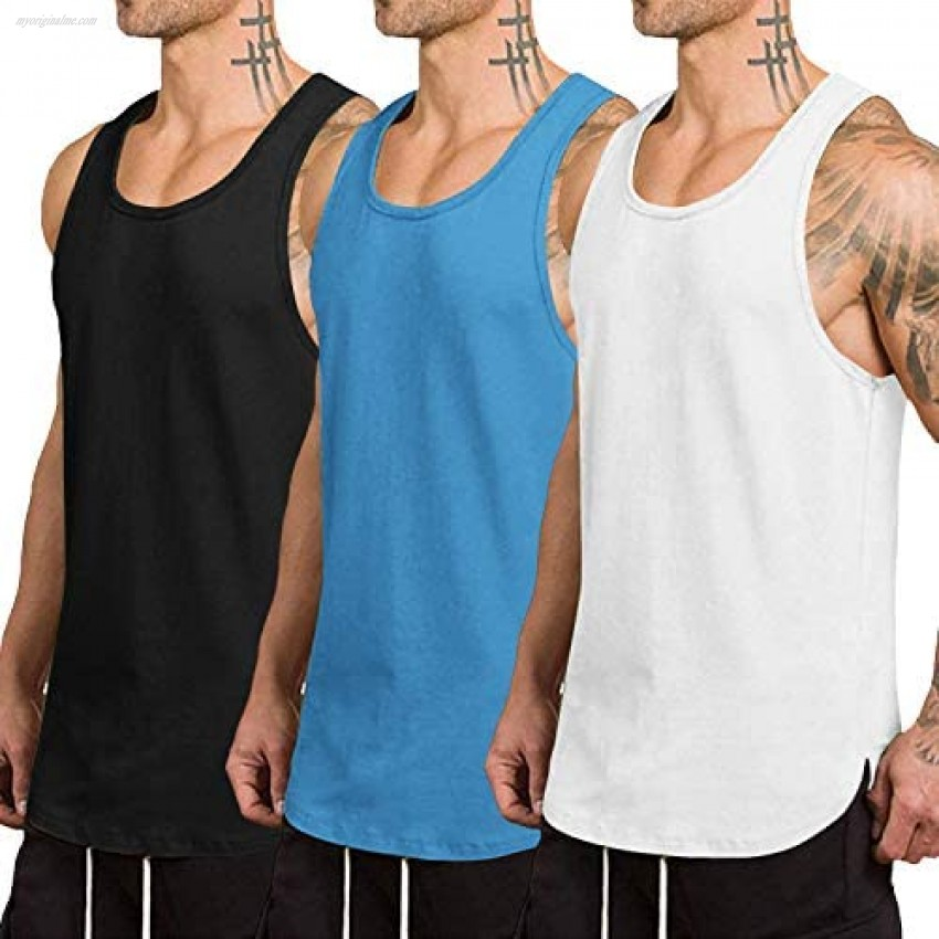 COOFANDY Men's 3 Pack Quick Dry Workout Tank Top Gym Muscle Tee Fitness Bodybuilding Sleeveless T Shirt
