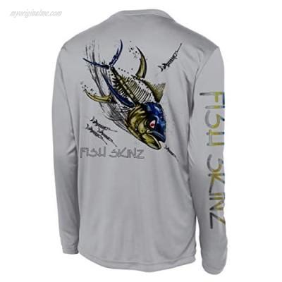 Fish Skinz Mens Performance Fishing Shirt UPF 50+ Protection Rude Tuna Gray