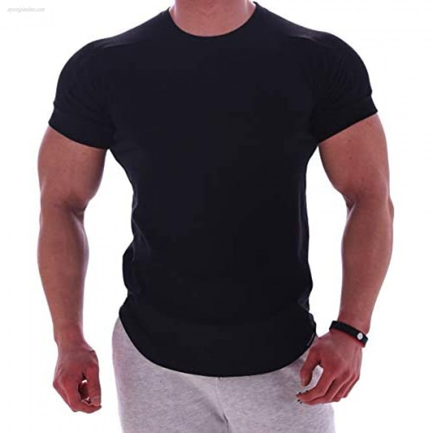 Magiftbox Mens Muscle Cotton Lightweight Workout Short Sleeve T-Shirts Gym Sweat Tee T24