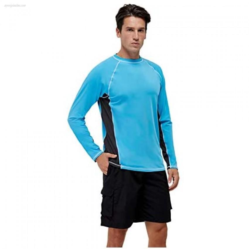 Men's Long Sleeve Swim Shirts Rashguard UPF 50+ UV Sun Protection Shirt Athletic Workout Running Hiking T-Shirt Swimwear