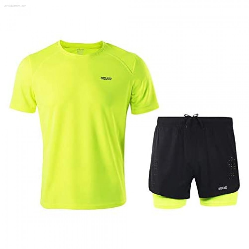 Men's Sports Active Tracksuit Short Sleeve Athletic Wicking T-Shirts and Shorts Running Jogging Stretch Outfit Set
