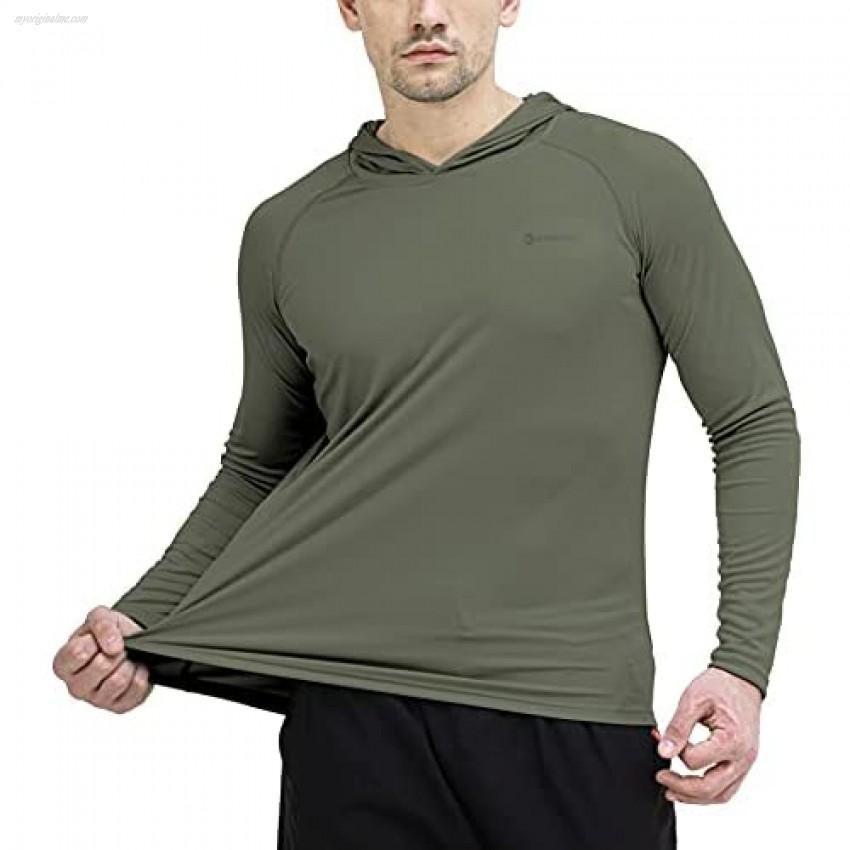 Men's UPF 50+ Sun Protection Hoodie Outdoor Long Sleeve T-Shirt for Running Fishing Hiking