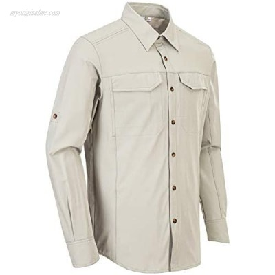 Outdoor Ventures Men's Long Sleeve Hiking Shirt UV Protection Cooling Shirt for Fishing Travel Stretch and Quick Dry