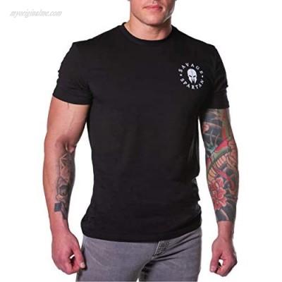 Savage Spartan T-Shirt for Men - American Warrior Helmet Athletic Tee