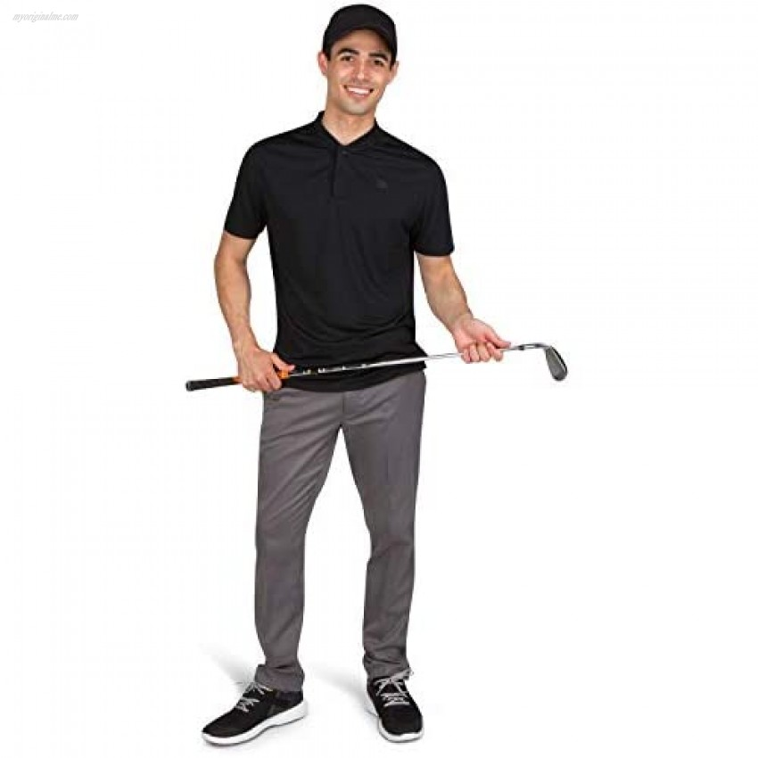 Three Sixty Six Quick Dry Collarless Golf Shirts for Men - Short Sleeve Casual Polo Stretch Fabric