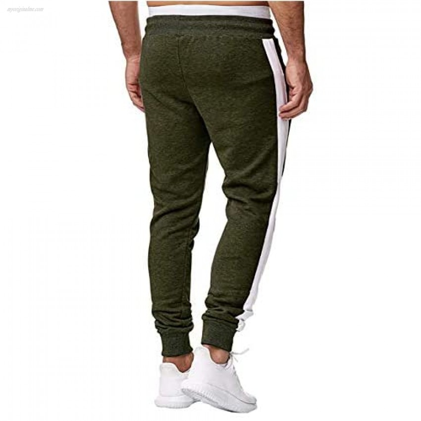Annystore Athletic Mens Gym Sweatpants Workout Joggers Pants Drawstring Elastic Track Pants with Zipper