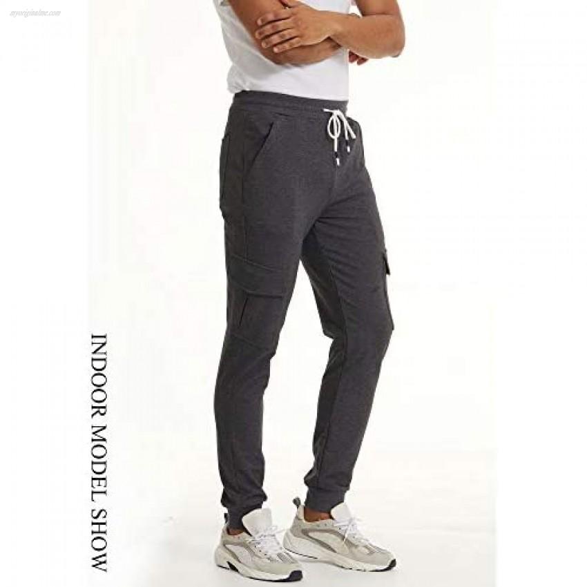 MAGCOMSEN Men's Joggers 5 Pockets Wrinkle-Free Cargo Sweatpants Drawstring Workout Running Pants