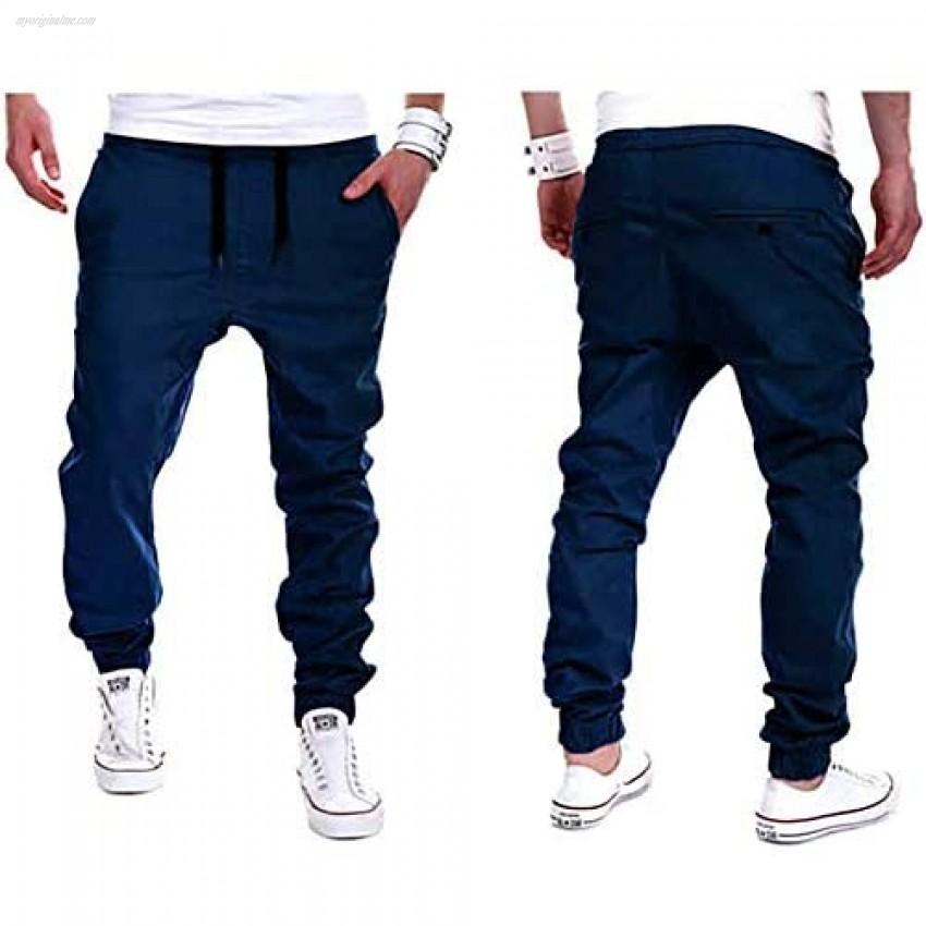 MorwenVeo Men's Gym Jogger Casual Pants - Cotton Cargo Pants Basic Sweatpants with Pockets - 4 Colors