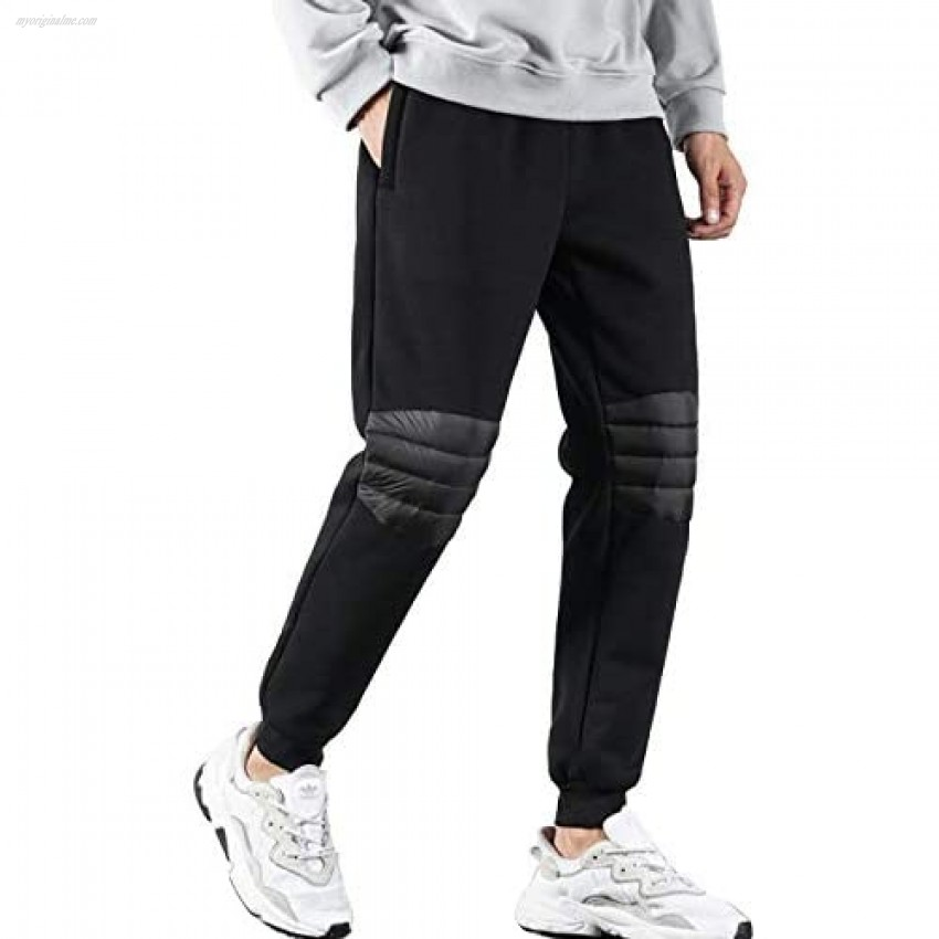 PEHMEA Mens Warm Sherpa Fleece Lined Sweatpants Casual Winter Joggers Active Running Pants with Padded Down Knee