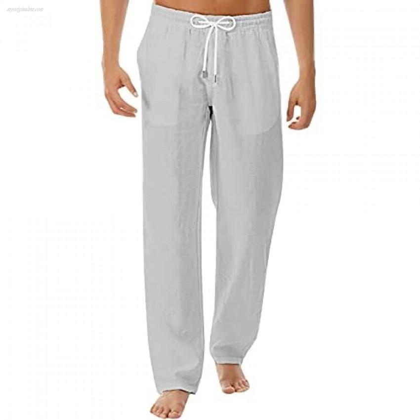Percle Men's Summer Casual Long Pants Linen Pants Loose Casual Trousers Yoga Beach Trousers