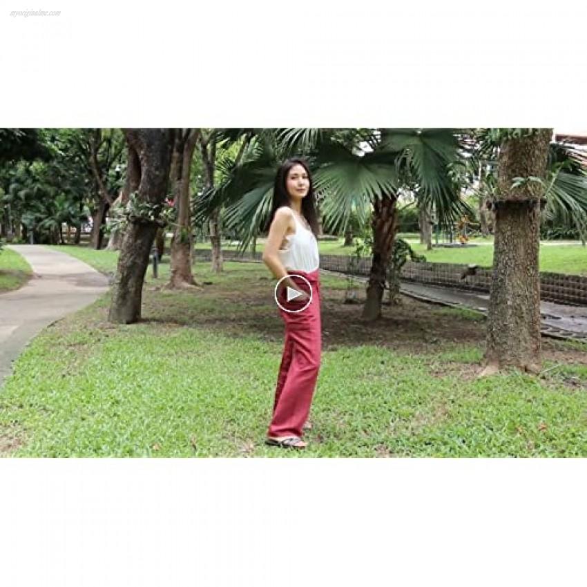RaanPahMuang Striped Thai Fisherman Pants Men Women Loose Yoga Pirate Harem X-Large True Red