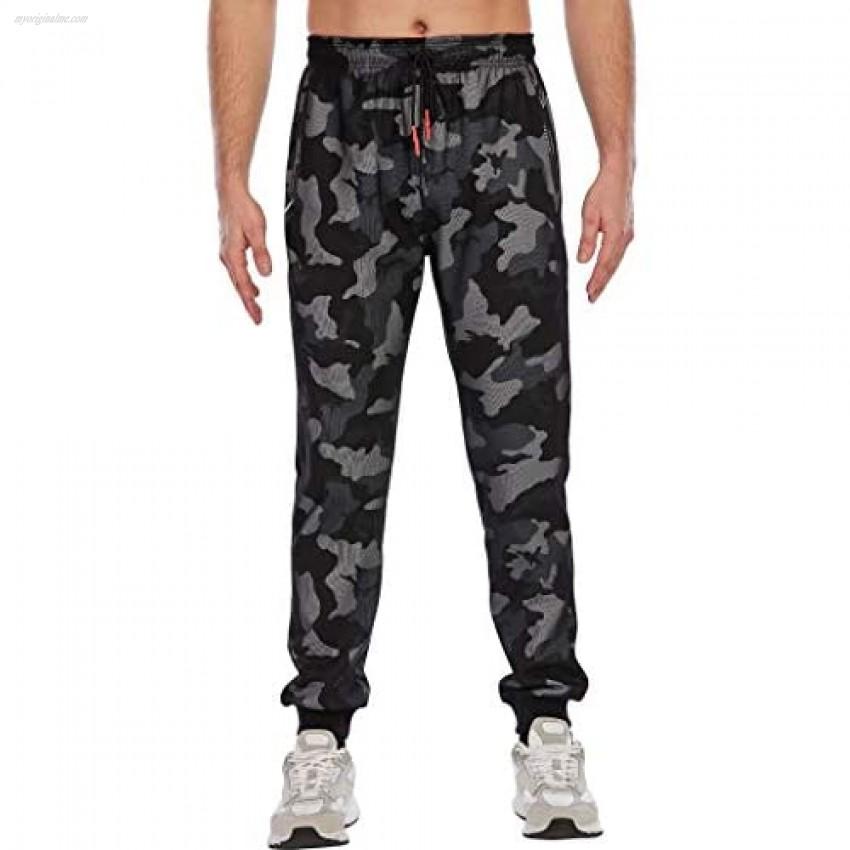 SHURONG Men's Lounge Camo Athletic Training Pants Jogger Sweatpants with Zipper Pockets