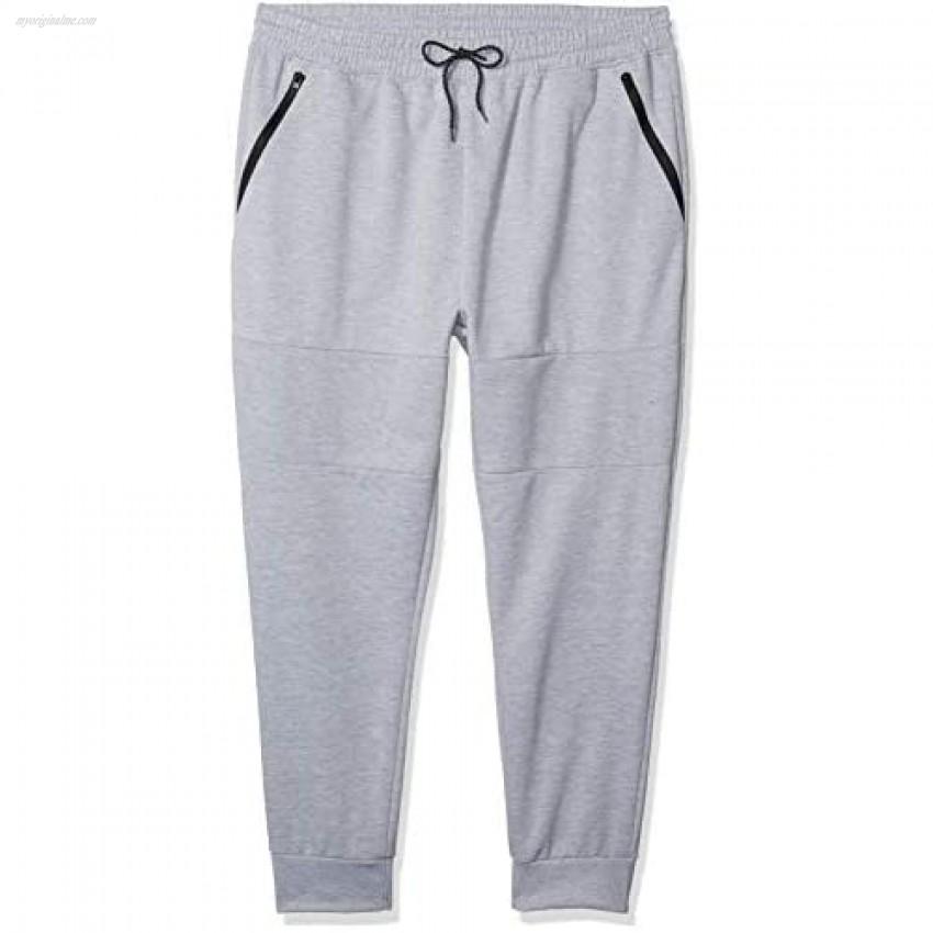 Southpole Men's Tech Fleece Basic Jogger Pants-Reg and Big & Tall Sizes Heather Grey Panel Large