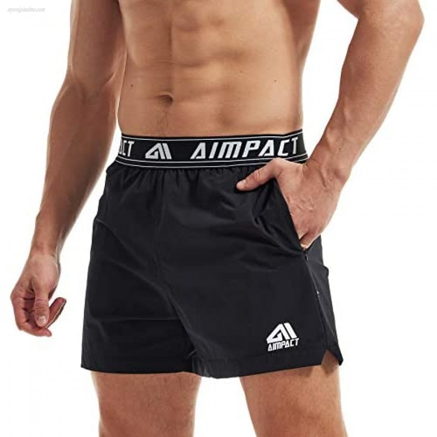 AIMPACT Mens Workout Shorts 5 inch Inseam Training Running Shorts with Liner(Black L)