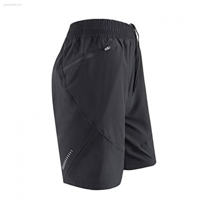 AJISAI Men's Running Workout Shorts Athletic Gym Shorts Zip Pockets