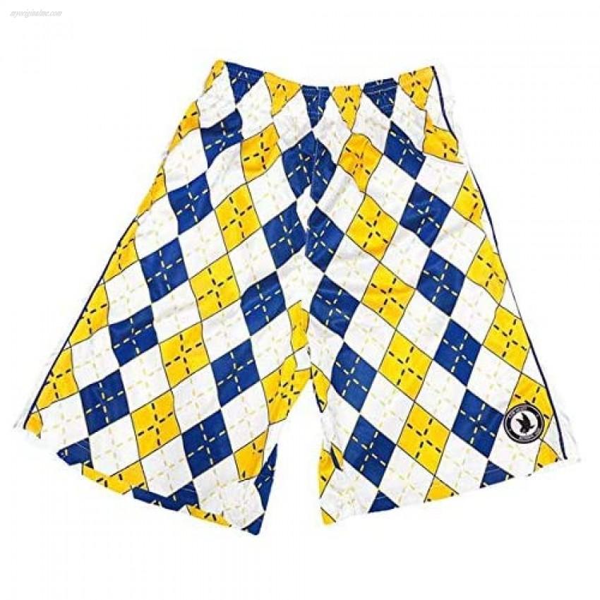 Flow Society Mens Blue & Gold Argyle Attack Short - Mens Athletic Shorts