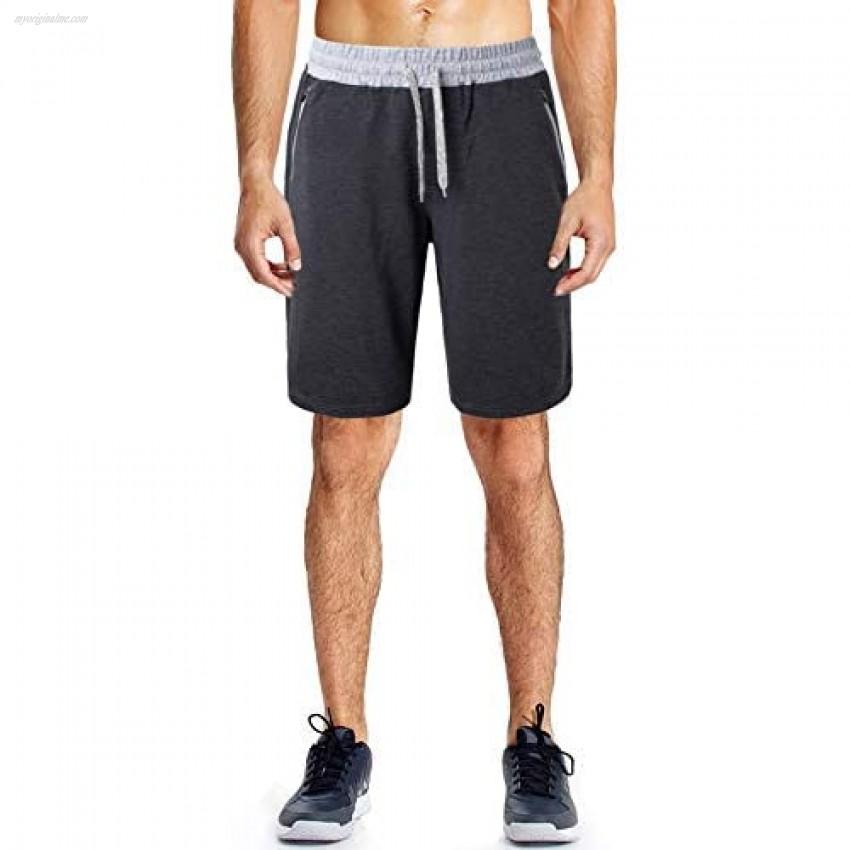 Le Vonfort Mens Elastic Waist Drawstring Jogger Sweat Shorts Summer Casual Workout Short Pants with Zipper Pockets