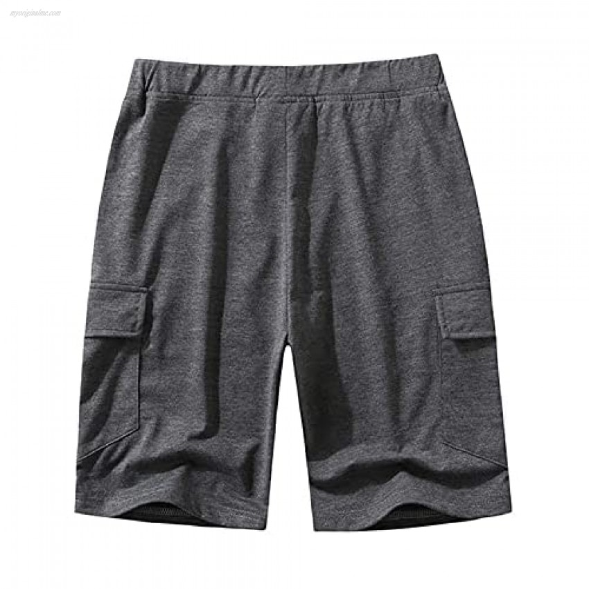 SAMACHICA Men's Casual Cotton Drawstring Shorts Jogger Gym Workout Short Pants with Elastic Waist and Pockets