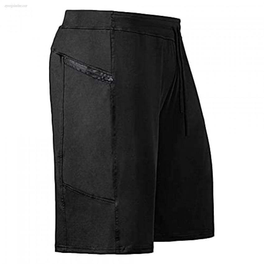 THWEI Shorts Casual Cotton Workout Jogger Elastic Waist Short Pants Drawstring Lightweight Gym Shorts with Zipper Pockets