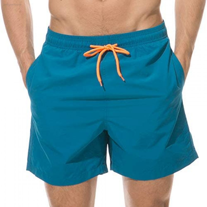 Gerlobal Men's Beach Shorts Waterproof Board Shorts with Mesh Lining Summer Swim Trunks